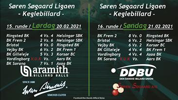 Søren Søgård ligaen (Keglebillard) – status efter 16. runder.